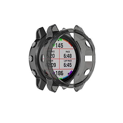 RuenTech Ersat Schutzhülle Kompatibel mit Garmin Fenix 6s Pro Saphir Sapphire Schutzhülle Schutzfolie Hülle TPU Shell Schut Rundumschutz Anti-Scratch (schwarz)