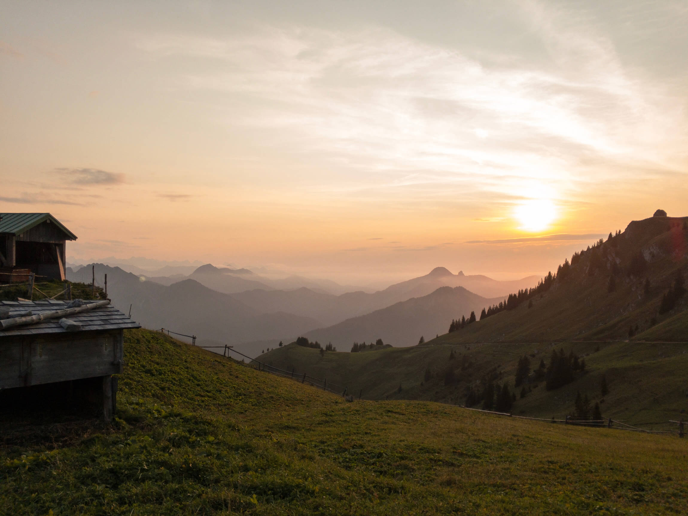 Sonnenuntergang am Rotwandhaus