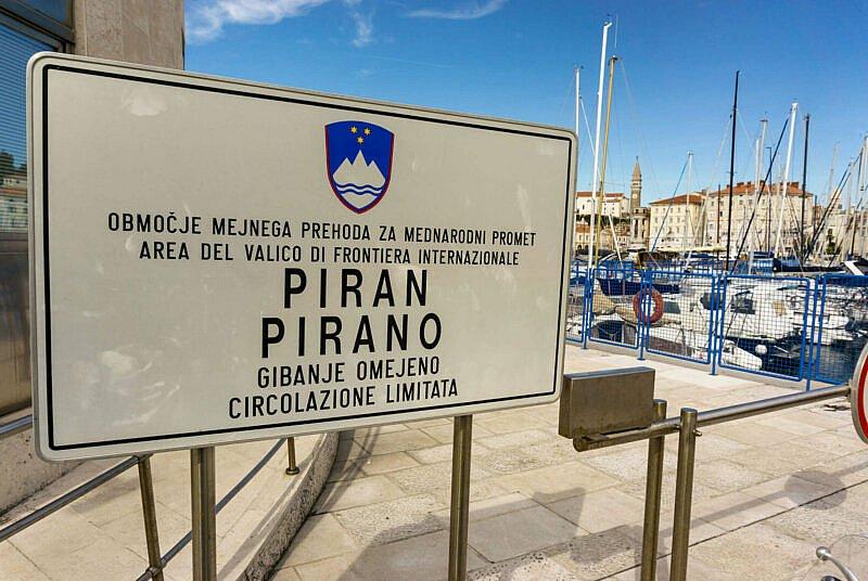 Ortsschild von Piran